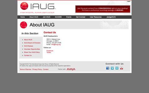 Screenshot of Contact Page iaug.org - International Avaya Users Group : Contact Us - captured Nov. 2, 2014