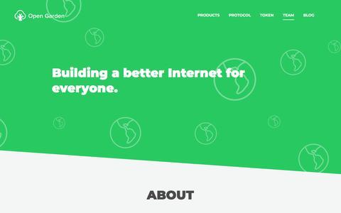 Screenshot of Team Page opengarden.com - Open Garden - captured Aug. 22, 2018