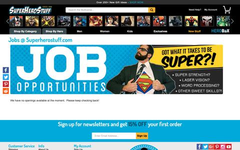Screenshot of Jobs Page superherostuff.com - Jobs @ Superherostuff.com - captured Dec. 12, 2018