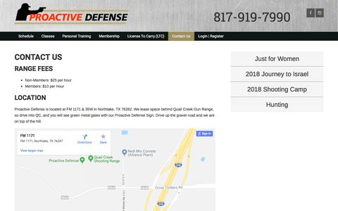 Screenshot of Contact Page proactivedefense.net - Contact Us - Proactive Defense - captured July 23, 2018