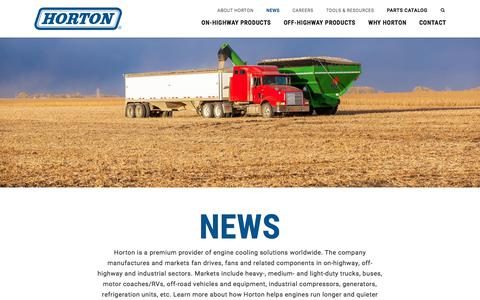 Screenshot of Press Page hortonww.com - News | Horton Engine Cooling Solutions - captured Sept. 3, 2017