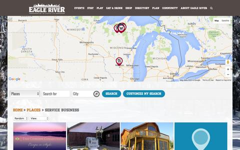 Screenshot of Services Page eagleriver.org - Service Business Archives - Eagle River Area Chamber of Commerce - captured March 8, 2016