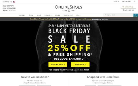 Screenshot of Home Page onlineshoes.com captured Nov. 21, 2015