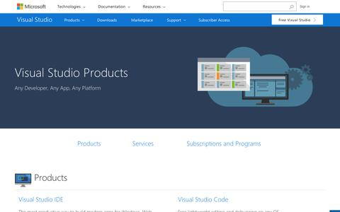 Screenshot of Products Page visualstudio.com - Products | Dev Services, Software, & Subscription | Visual Studio - captured May 25, 2017