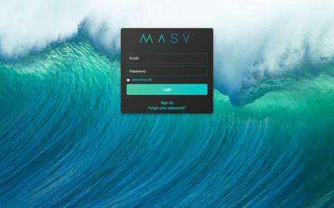 Screenshot of Login Page masv.io - MASV - captured May 6, 2018