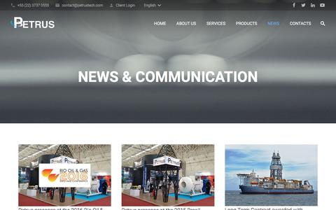 Screenshot of Press Page petrustech.com - News & Communication | Petrus Oil & Gas - captured Nov. 5, 2016