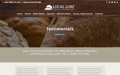 Screenshot of Testimonials Page localloafcharlotte.com - Testimonials | Local Loaf - captured Dec. 15, 2018