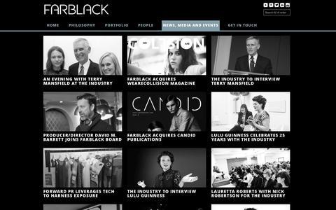 Screenshot of Press Page farblack.com - News, Media and Events | FARBLACK - captured Oct. 5, 2014