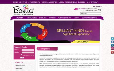 Screenshot of Team Page bonitaindia.com - Management - captured July 17, 2017