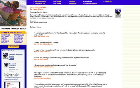 Screenshot of Testimonials Page preferredtimeshare.com - Preferred Timeshare Resale, Testimonials - Preferred Timeshare Resales - captured Oct. 2, 2014