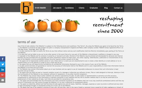 Screenshot of Terms Page b3jobs.co.uk - Terms of use for b3 jobs UK food recruitment agency - captured Oct. 7, 2018