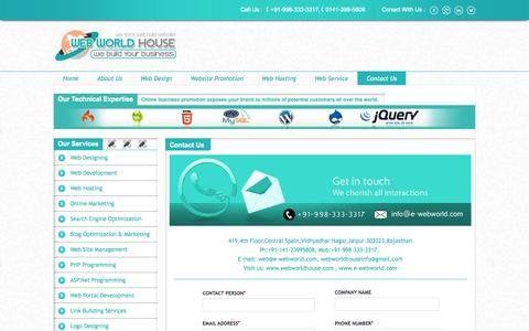 Screenshot of Contact Page webworldhouse.com - Seo Company Jaipur, Web Development Services Jaipur - captured Nov. 4, 2014
