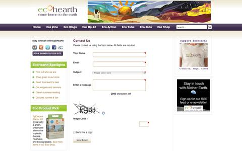 Screenshot of Contact Page ecohearth.com - EcoHearth - Contact Us - captured Sept. 30, 2014