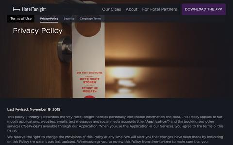 Screenshot of Privacy Page hoteltonight.com - Terms of Use - Privacy Policy - Hotel Tonight - captured Feb. 2, 2016