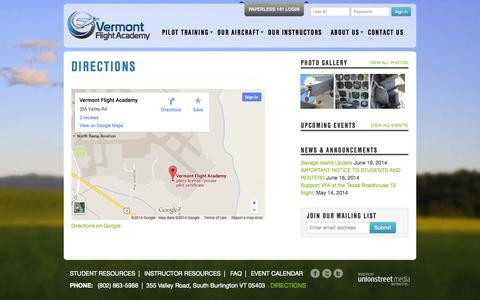 Screenshot of Maps & Directions Page flyvfa.org - Directions - Vermont Flight Academy - captured Oct. 7, 2014