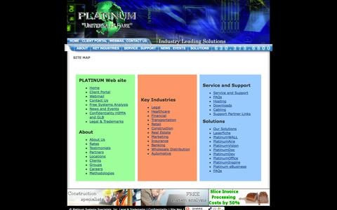 Screenshot of Site Map Page platinum-universe.com - Nationwide, Cabling, Computers, Datacenter, Maintenance, Networks, Security, Services, Solutions, Support - Platinum Systems Specialists, Inc. - captured Oct. 2, 2014