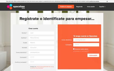 Screenshot of Login Page spacebee.com - Spacebee | Regístrate o identifícate para empezar... - captured Oct. 26, 2014