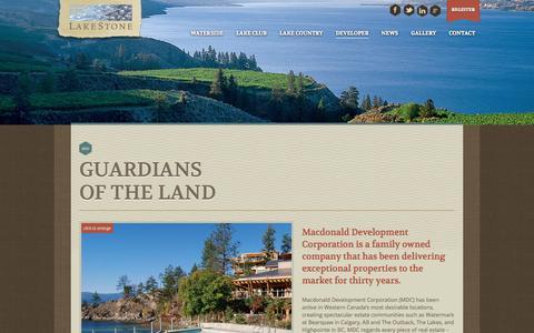 Screenshot of Developers Page lakestoneliving.com - Developer - Macdonald Development Corporation - Lakestone Living - captured Oct. 1, 2014