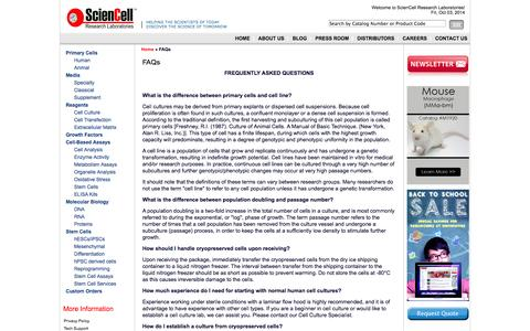 Screenshot of FAQ Page sciencellonline.com - Leading provider for Human primary cells, Animal cells, Cell culture medium and primary cell derived DNA, RNA and proteins - captured Oct. 3, 2014