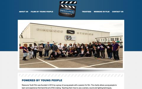 Screenshot of About Page resource-productions.co.uk - Resource Youth Film a charity for young people run by young people in order to learn filmmaking skills - captured Oct. 20, 2018