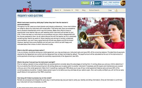 Screenshot of FAQ Page rentmyinstrument.com - Rent My Instrument - Frequently Asked Questions - captured Sept. 12, 2014