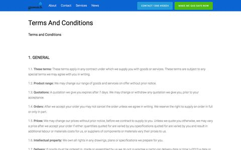 Screenshot of Terms Page gaswatch.com.au - Terms and Conditions – Gaswatch - captured Jan. 26, 2016