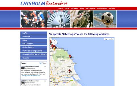 Screenshot of Locations Page chisholm.uk.com - Chisholm Bookmakers - Betting Office Locations - captured Oct. 2, 2014