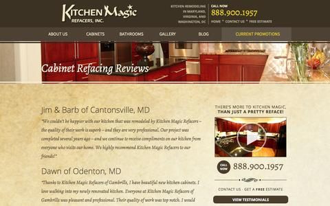 Screenshot of Testimonials Page kitchenmagic.net - Reviews of Cabinet Refacing Work Done By Kitchen Magic Refacers - captured Oct. 6, 2014