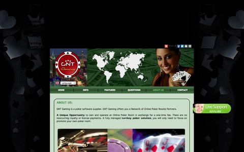 Screenshot of About Page gntgaming.com - GNT GAMING - Turnkey Poker Room For Sale. Make Poker Room - Casino. Be Part Of The Online Poker And Casino Business - captured Sept. 27, 2014
