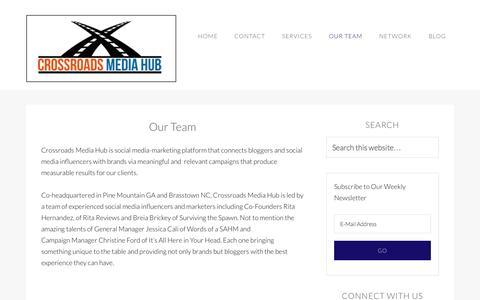 Screenshot of Team Page crossroadsmediahub.com - Our Team - captured Sept. 19, 2014