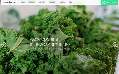 Screenshot of Home Page sweetgreen.com - sweetgreen - captured Feb. 20, 2016