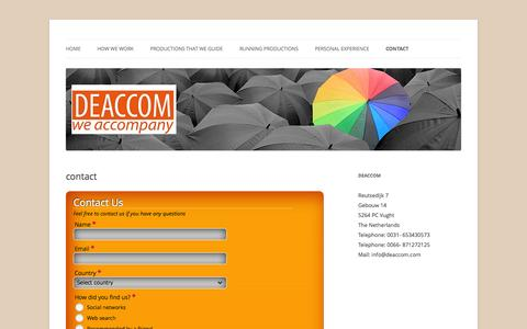 Screenshot of Contact Page deaccom.com - contact | Deaccom - captured Oct. 1, 2014