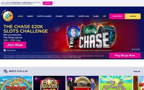 Screenshot of Home Page galabingo.com - Online Bingo | Spend £10, Get £30 Bonus | galabingo.com - Gala Bingo - captured July 26, 2018