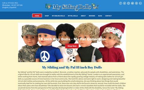 Screenshot of Home Page mysiblingdolls.com - 18 Inch Boy Dolls, Boy Doll Clothing & Accessories, Shop Now, My Sibling Dolls - captured Sept. 30, 2018