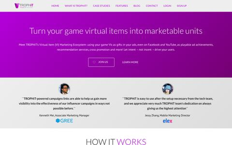 Screenshot of Home Page trophit.com - TROPHiT | The world's first virtual item marketing ecosystem - captured Feb. 12, 2016