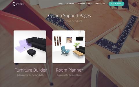 Screenshot of Support Page cylindo.com - Furniture Visualization Software - Cylindo - captured July 24, 2018