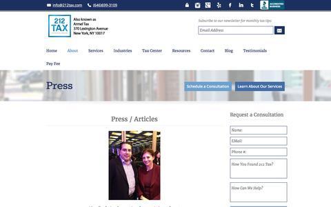 Screenshot of Press Page 212tax.com - Radio Interviews | 212 Tax & Accounting Services - captured Feb. 16, 2016