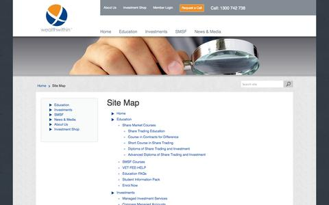 Screenshot of Site Map Page wealthwithin.com.au - Site Map - Wealth Within - captured Oct. 27, 2014
