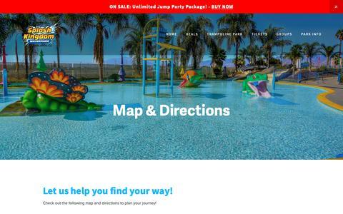 Screenshot of Maps & Directions Page splashkingdom.net - Directions — Splash Kingdom Waterpark: The Beach within Reach! - captured Oct. 19, 2018