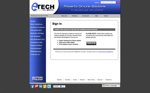 Screenshot of Login Page etechglobal.com - EtechGlobal- Powerful on-line solutions for businesses large or small - captured Nov. 10, 2016