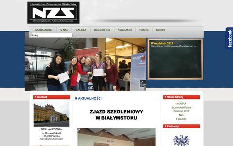Screenshot of Home Page nzs-uam.poznan.pl - NZS UAM POZNAŃ - AKTUALNOŚCI - captured June 25, 2016