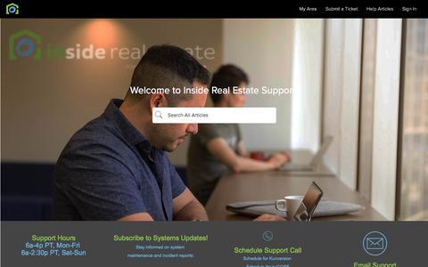 Screenshot of Support Page insiderealestate.com - Inside Real Estate - captured July 15, 2018