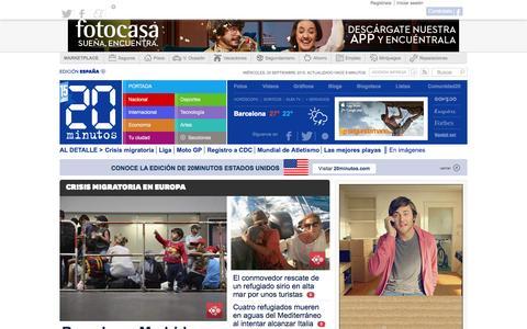 Screenshot of Home Page 20minutos.es - 20minutos.es - El medio social - Última hora, local, Espańa y el mundo - captured Sept. 1, 2015