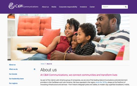 Screenshot of About Page cwc.com - Cable & Wireless Communications | About us - captured Sept. 23, 2018