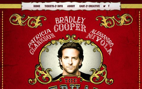 Screenshot of Home Page elephantmanbroadway.com - The Elephant Man London 2015. Starring Bradley Cooper - captured March 6, 2016