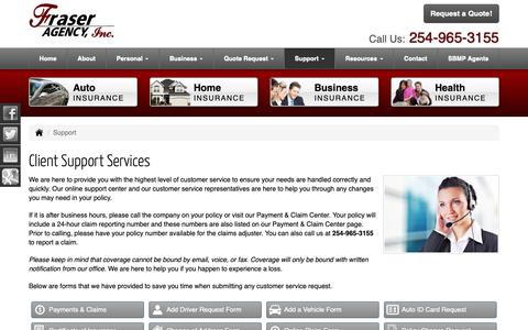 Screenshot of Support Page fraseragency.com - Client Support Services for Fraser Agency, Inc. in Fort Worth and Stephenville Texas - captured Nov. 9, 2018