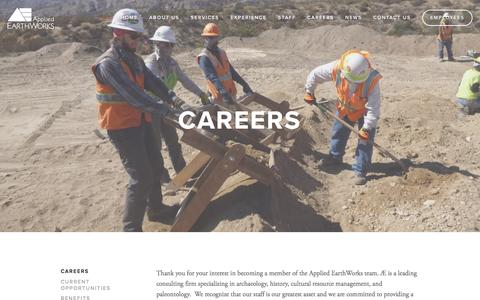 Screenshot of Jobs Page appliedearthworks.com - Careers — Applied EarthWorks, Inc. - captured Nov. 21, 2016