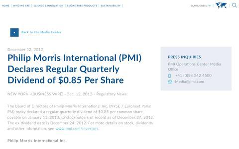 Screenshot of Press Page pmi.com - Philip Morris International (PMI) Declares Regular Quarterly Dividend of $0.85 Per Share - captured Nov. 1, 2018