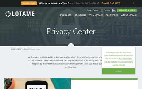 Screenshot of Privacy Page lotame.com - Privacy Center | LOTAME - captured April 4, 2019