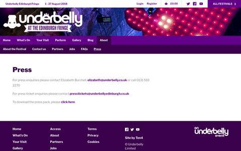 Screenshot of Press Page underbellyedinburgh.co.uk - Press - Underbelly Edinburgh Fringe - captured Feb. 24, 2018